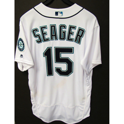 Photo of Kyle Seager White Home Game-Used Jersey 6-30-2016