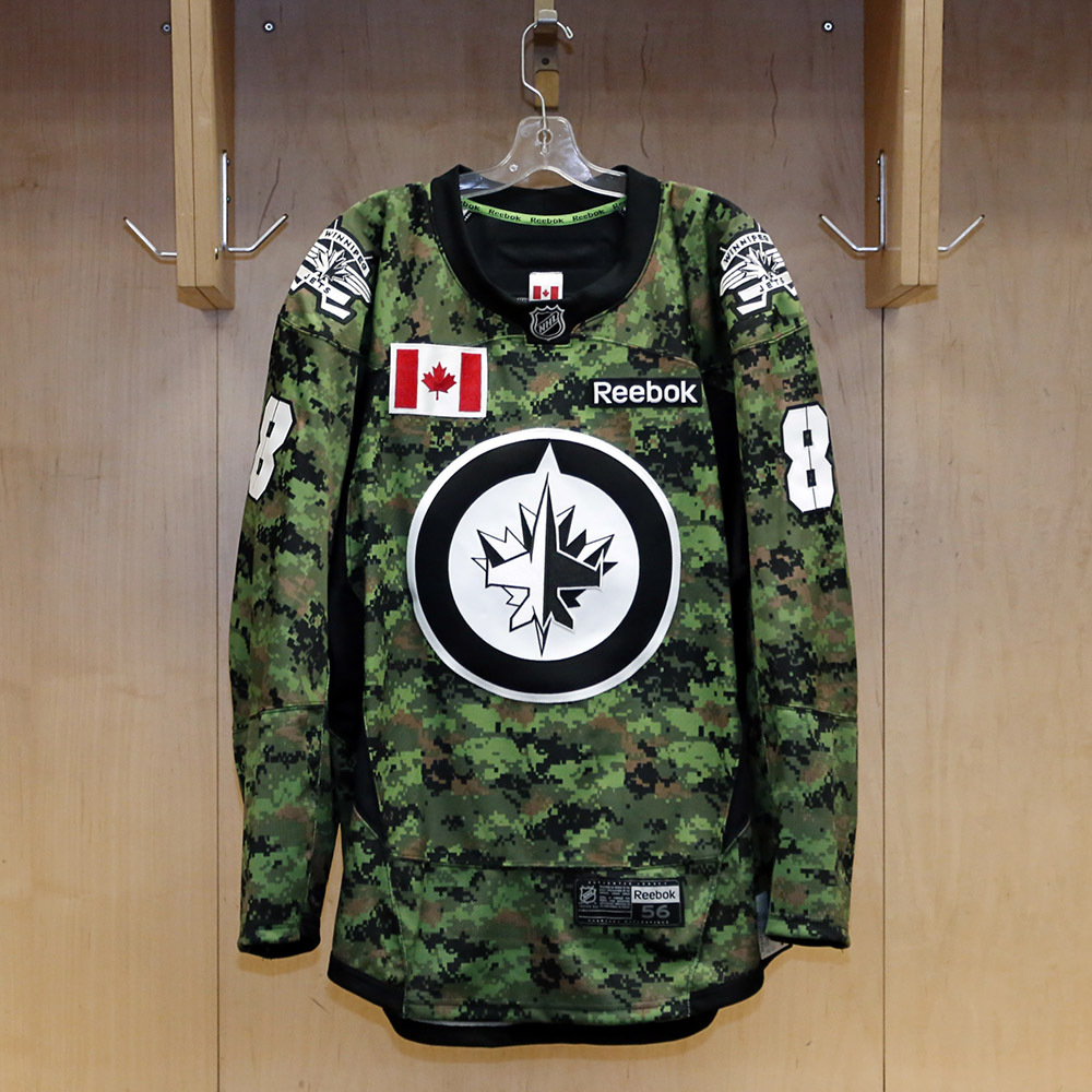 Jacob Trouba - Warm-Up Worn - Commemorative Canadian Armed Forces Jersey
