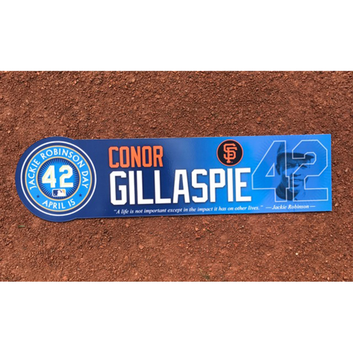 Photo of San Francisco Giants - Game Used - Jackie Robinson Day #42 Locker Tag - Conor Gillaspie