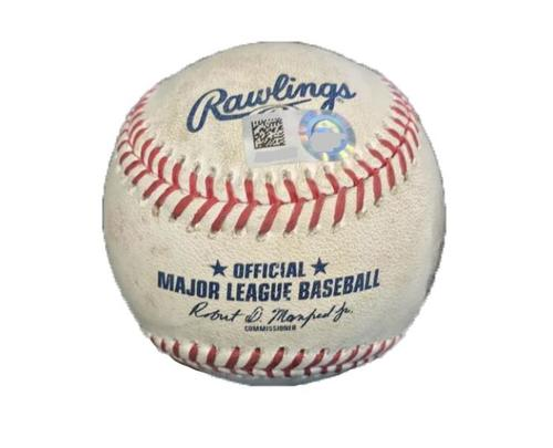 Photo of Game-Used Baseball from Pirates vs. Dodgers on 8/21/17 - Wood to Stewart, Foul