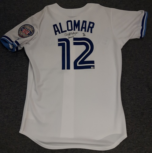 Photo of Authenticated Autographed Jersey - #12 Roberto Alomar. Size 44.