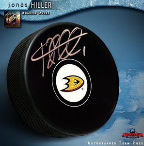 JONAS HILLER Signed Anaheim Ducks Puck