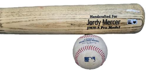 Photo of Jordy Mercer Game-Used Baseball and Broken Bat