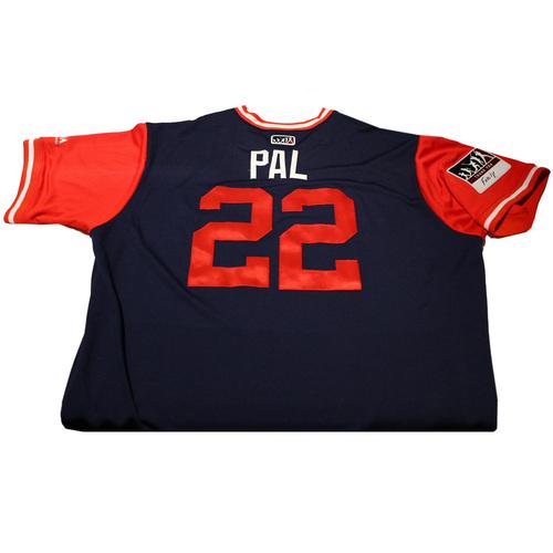 """Photo of Kaleb """"Pal"""" Cowart Los Angeles Angels Game-Used Players Weekend Jersey"""