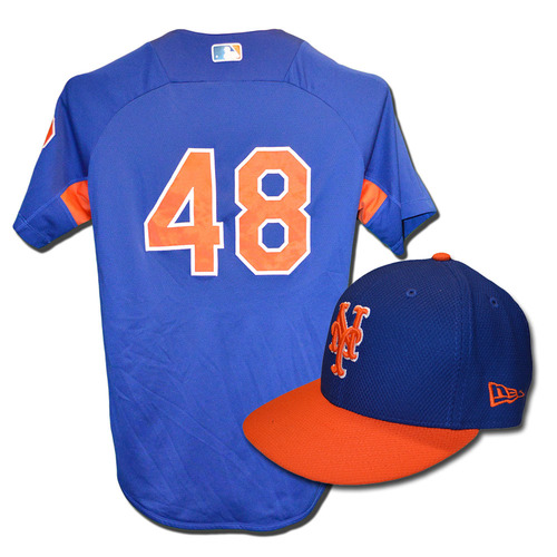 Photo of Jacob deGrom #48 - Team Issued Blue Batting Practice Top and Hat Combination - 2017 Season