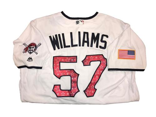 Photo of Trevor Williams Game-Used Home White Stars and Stripes Jersey