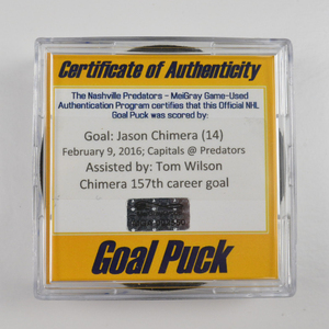 Jason Chimera - Washington Capitals - Goal Puck - February 9, 2016 (Predators Logo)