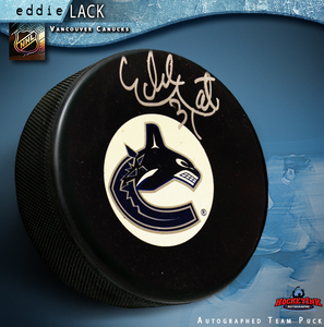 EDDIE LACK Signed Vancouver Canucks Puck