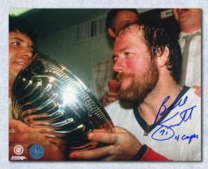 Billy Smith NY Islanders Autographed Stanley Cup 8x10 Photo w 4 Cups Note
