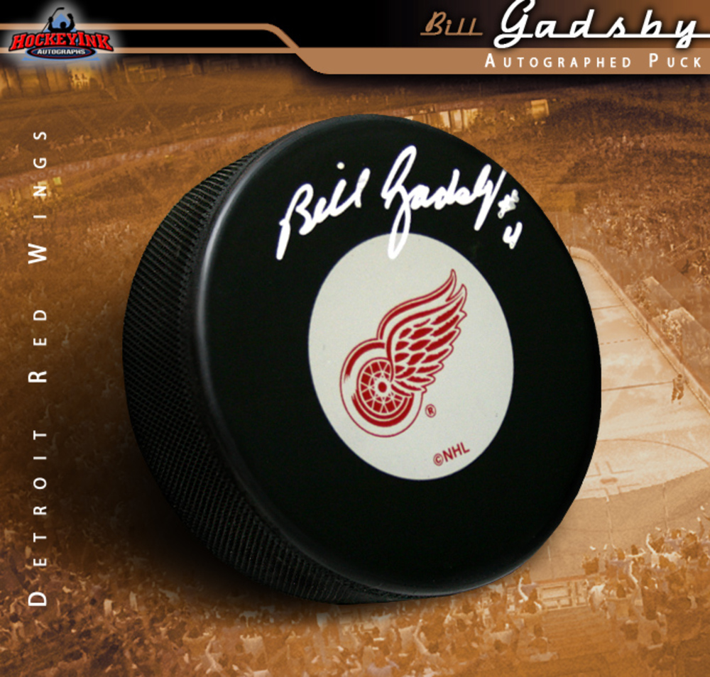 BILL GADSBY Signed Detroit Red Wings Puck