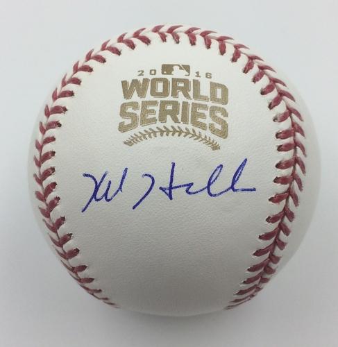 Photo of Kyle Hendricks Autographed 2016 World Series Logo Baseball