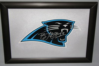 PANTHERS - BRANDON LAFELL SIGNED PANTHERS DECAL WITHIN 8.5 X 11 PICTURE FRAME