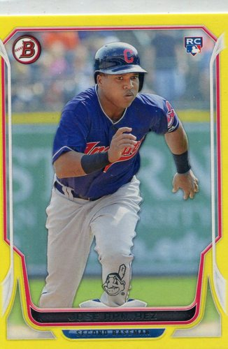 Photo of 2014 Bowman Yellow #176 Jose Ramirez 47/99 -- Indians post-season