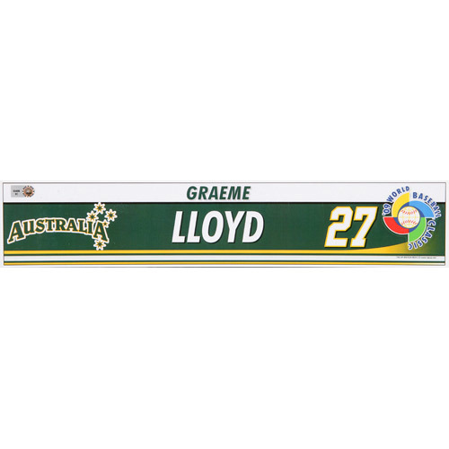 Photo of 2009 WBC: Australia Game-Used Locker Name Plate - #27 Graeme Lloyd