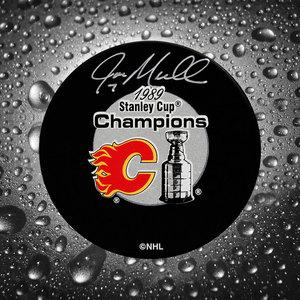 Joe Mullen Calgary Flames 1989 Stanley Cup Autographed Puck