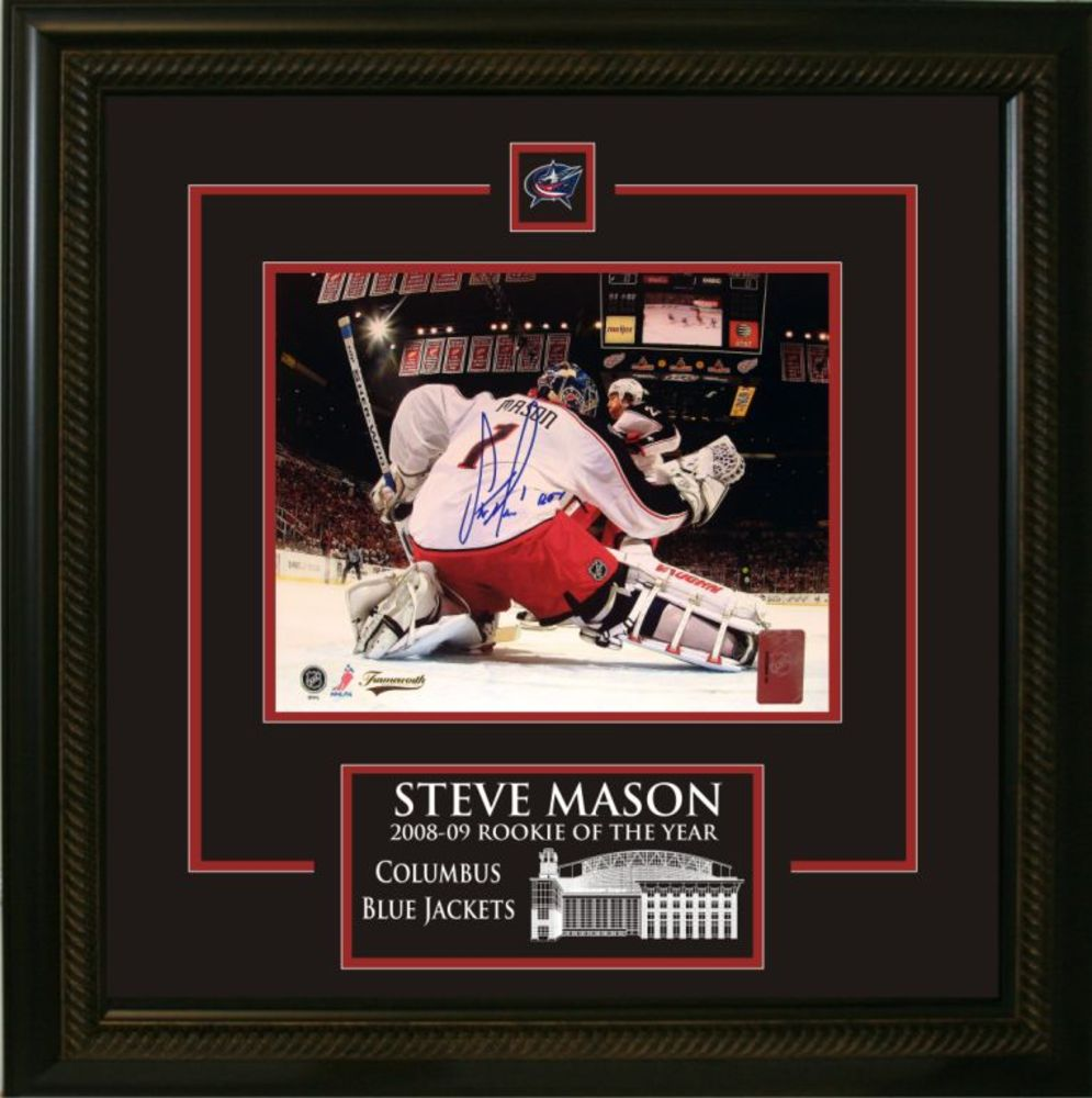 Steve Mason - Signed & Framed 8x10 Etched Mat - Blue Jackets Netcam ROY