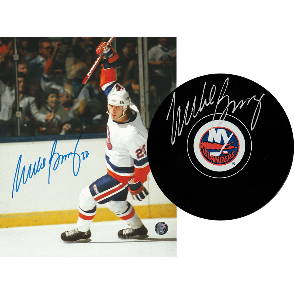 Mike Bossy Autographed New York Islanders Combo Lot - 8X10 Photo & Puck