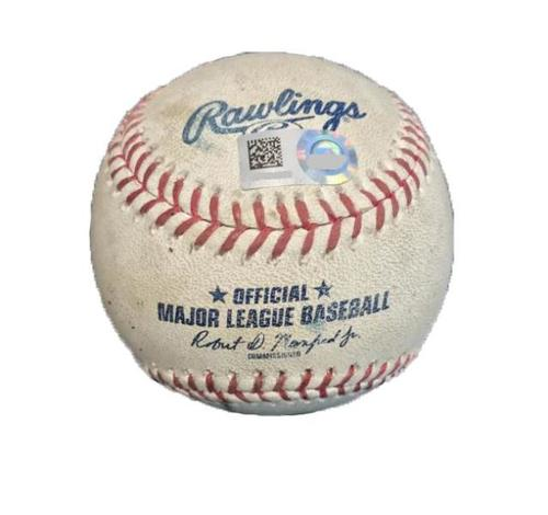 Photo of Game-Used Baseball from Pirates vs. Dodgers on 8/24/17 - Kuhl to Ryu, Foul Bunt