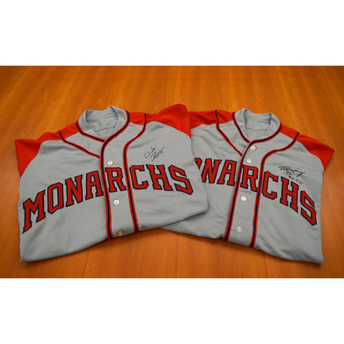 Photo of Mike Sweeney and Chad Durbin Autographed Kansas City Monarchs Game Worn Jersey Collection - Not Authenticated by MLB