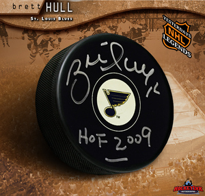 BRETT HULL Signed St. Louis Blues Puck with