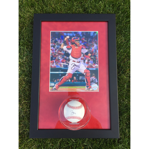 Photo of Cardinals Authentics: Yadier Molina Throwing Autographed Photo and Ball Frame