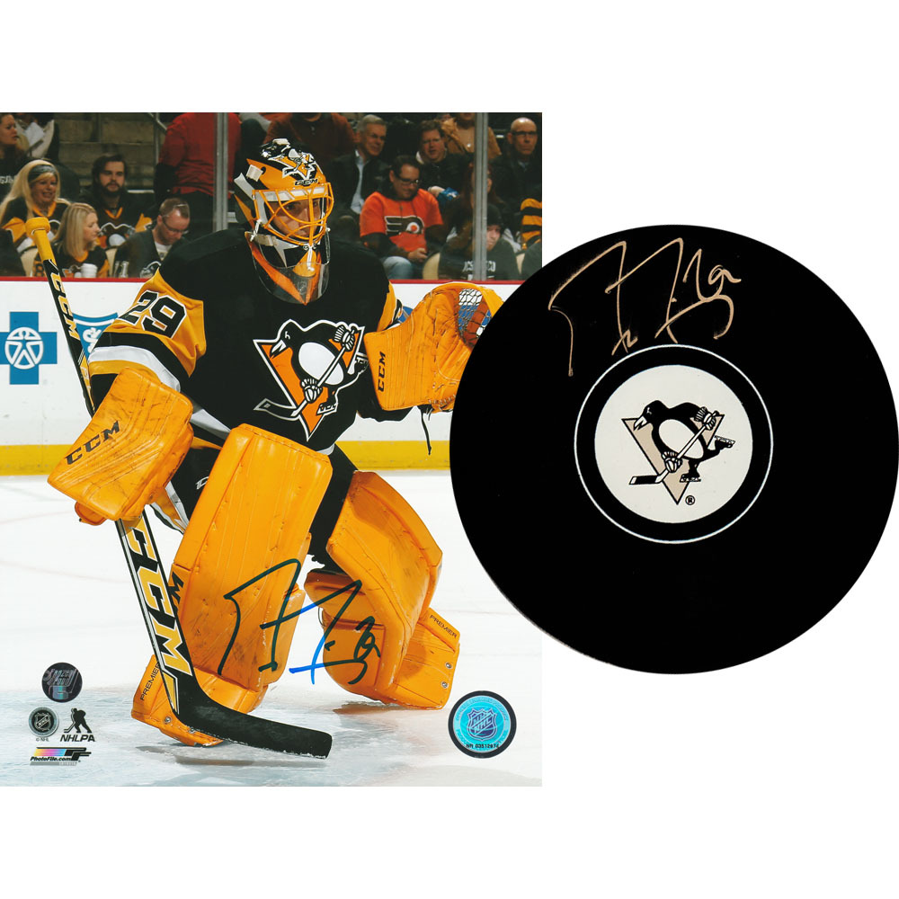 Marc-Andre Fleury Autographed Pittsburgh Penguins Combo Lot - 8X10 Photo & Puck