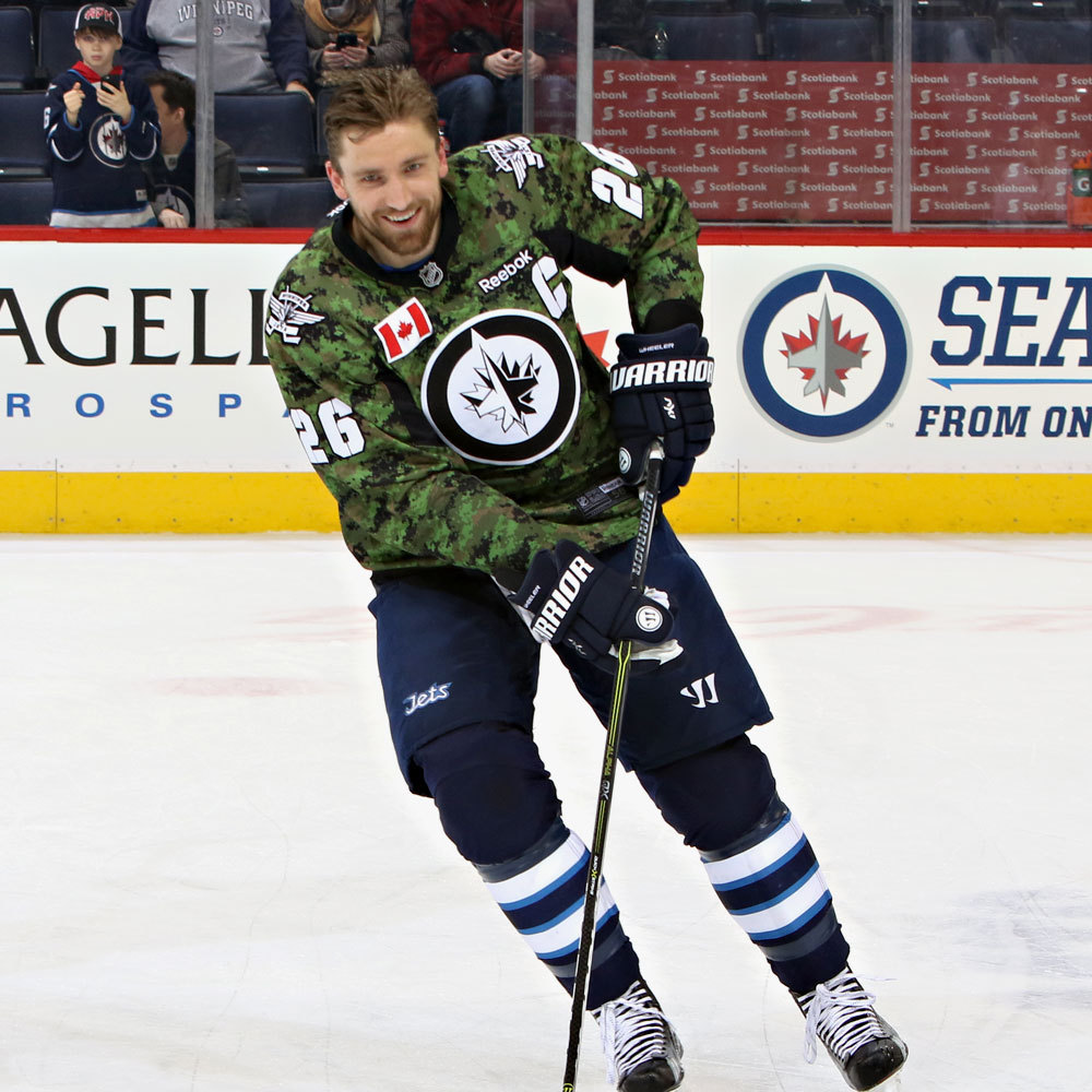 Blake Wheeler Winnipeg Jets Warm Up Worn Canadian Armed Forces jersey