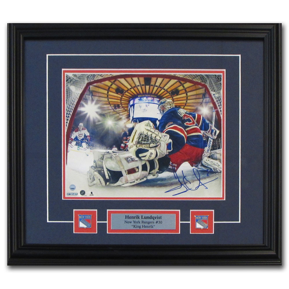 Henrik Lundqvist Autographed New York Rangers Framed 8X10 Photo