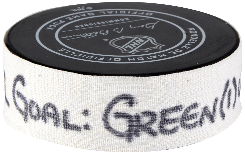 Mike Green Detroit Red Wings Atlantic Division 2018 NHL All-Star Game Goal Puck vs. Pacific Division - First Goal of Two Goals Scored