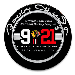 Bobby Hull Chicago Blackhawks Retirement Night Autographed Puck