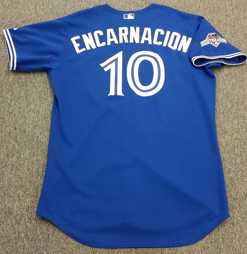 Photo of Authenticated Edwin Encarnacion Game Used 2015 Post Season Alternate Jersey - ALCS GM 4. Encarnation went 0-4 at the plate with 1 strikeout.