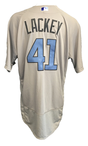 Photo of John Lackey Game-Used Father's Day Jersey -- Cubs vs Pirates -- 6/17/17