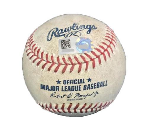 Photo of Game-Used Baseball from Pirates vs. Dodgers on 8/24/17 - Hernandez RBI Single, Barnes Single, 3 Pitches to Taylor