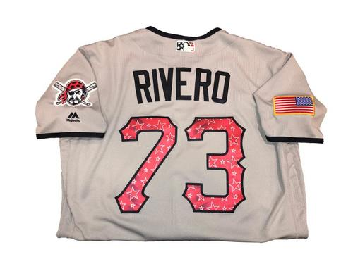 Photo of Felipe Rivero Game-Used Road Gray Stars and Stripes Jersey