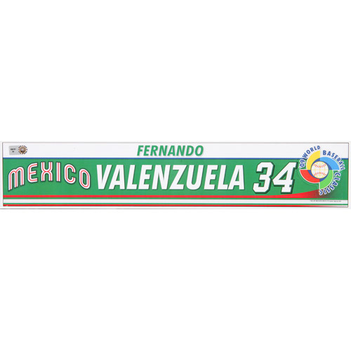 Photo of 2009 WBC: Mexico Game-Used Locker Name Plate - #34 Fernando Valenzuela