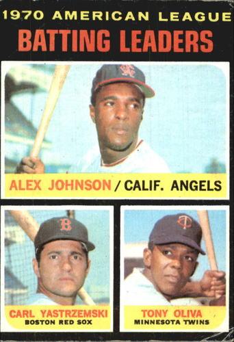 Photo of 1971 Topps #61 AL Batting Leaders/Alex Johnson/Carl Yastrzemski/Tony Oliva