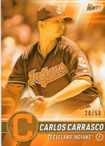 Photo of 2017 Topps Bunt Orange #190 Carlos Carrasco 20/50 -- Indians post-season