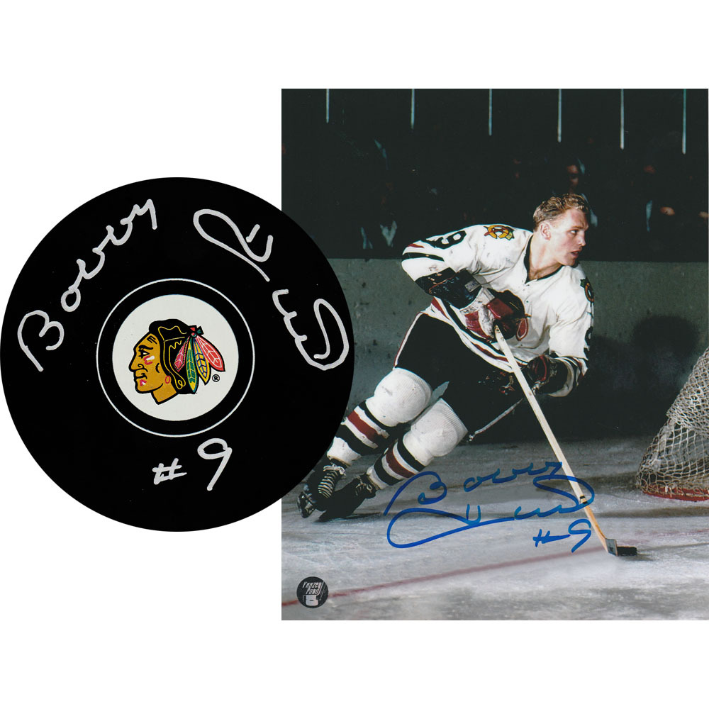 Bobby Hull Autographed Chicago Blackhawks Combo Lot - 8X10 Photo & Puck