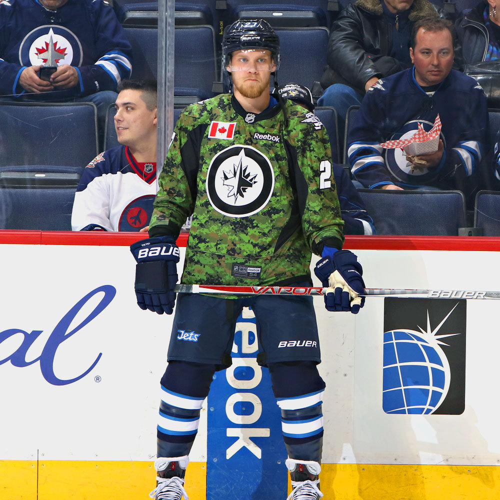Nikolaj Ehlers Winnipeg Jets Warm Up Worn Canadian Armed Forces jersey