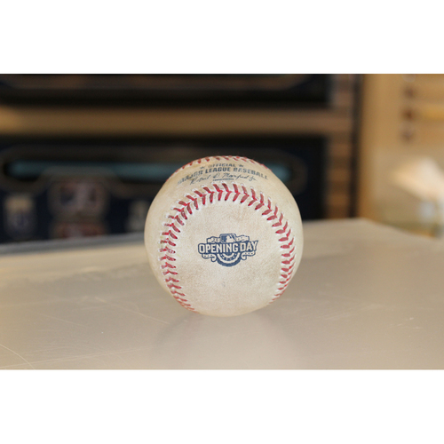 Photo of Game-Used Opening Day Baseball: (April 10, 2017 - OAK at KC)