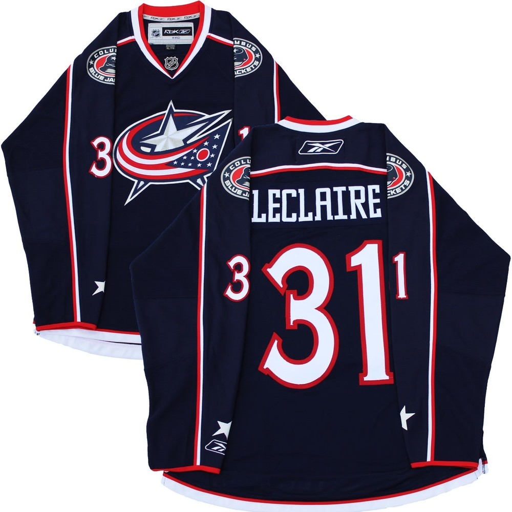 Pascal Leclaire -  2007/2008 Blue Jackets Blue Jersey - SIZE EXTRA LARGE