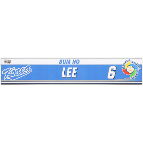 Photo of 2009 WBC: Korea Game-Used Locker Name Plate - #6 Bum Ho Lee