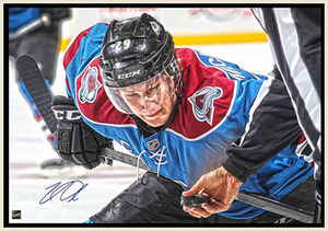 Nathan Mackinnon - Signed & Framed 20x29 Canvas - Avalanche Puck Drop
