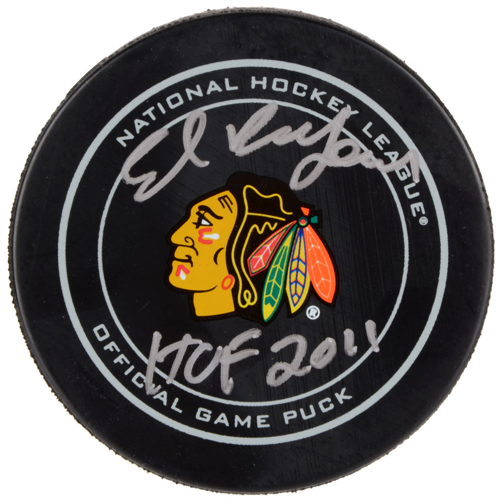 Ed Belfour Chicago Blackhawks Autographed Official Game Puck with HOF 2011 Inscription