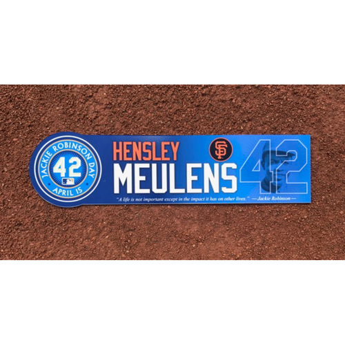 Photo of San Francisco Giants - Game Used - Jackie Robinson Day #42 Locker Tag - Hensley Meulens