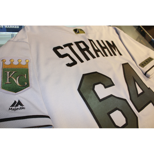 Photo of Matt Strahm Memorial Day Game-Used Jersey (5/28/17 KC at CLE) (Size 46)