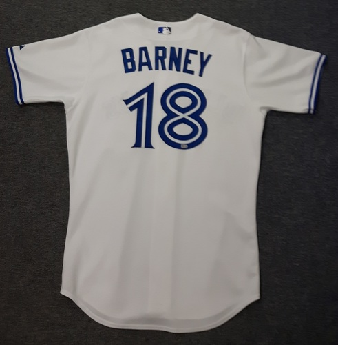 Photo of Authenticated Game Used Jersey - #18 Darwin Barney (September 18, 2015: Game was Stroman's 1st Home Start of the Season)