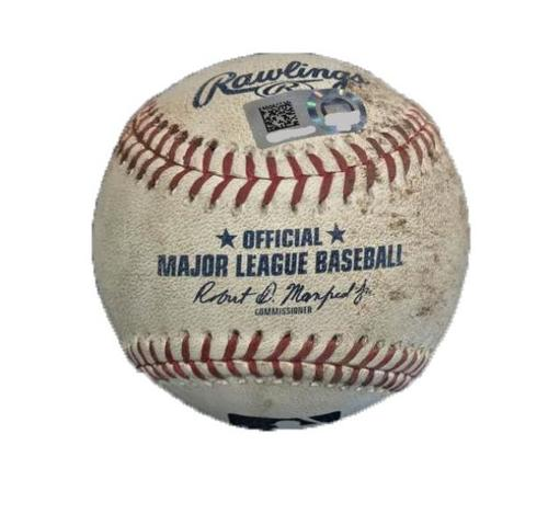 Photo of Game-Used Baseball from Pirates vs. Reds on 9/3/17 - Williams to Wallach, Romano - K Swinging by Wallach, 3 Pitches to Romano
