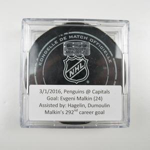 Evgeni Malkin - Pittsburgh Penguins - Goal Puck - March 1, 2016 (Capitals Logo)