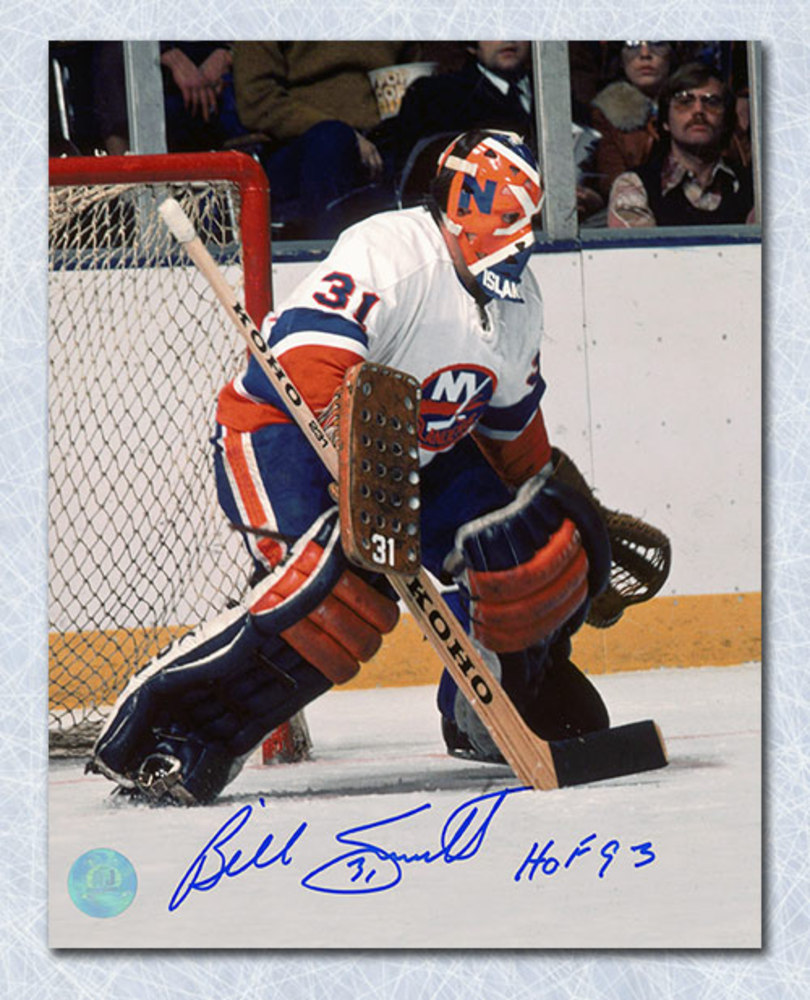 Billy Smith New York Islanders Autographed In Goal With Painted Mask 8x10 Photo